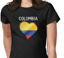Columbia - Columbian Flag Heart & Text - Metallic Womens Fitted T-Shirt
