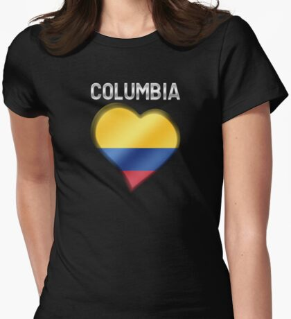 Columbia - Columbian Flag Heart & Text - Metallic Womens Fitted T-Shirt