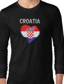 Croatia - Croatian Heart & Text - Metallic Long Sleeve T-Shirt