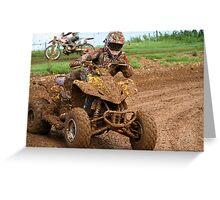 Quad bike on dirt track Greeting Card