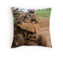 Quad bike on dirt track Throw Pillow