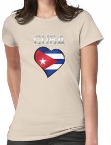 Cuba - Cuban Flag Heart & Text - Metallic Womens Fitted T-Shirt
