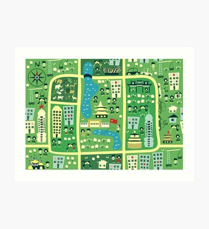 cartoon map of beijing Art Print