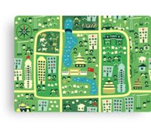 cartoon map of beijing Canvas Print