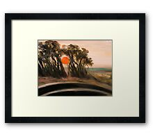 Sunset and Cypress and Highway 1 Framed Print