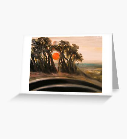 Sunset and Cypress and Highway 1 Greeting Card