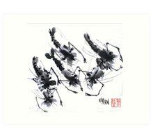 Sumi-e Shrimps represent Abundance! Art Print