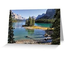 Famous Spirit Island on Maligne Lake, Jasper NP Greeting Card