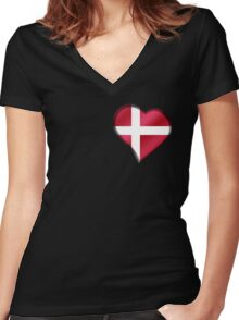 Danish Flag - Denmark - Heart Women's Fitted V-Neck T-Shirt