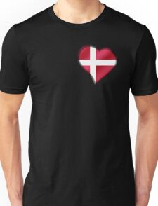 Danish Flag - Denmark - Heart Unisex T-Shirt