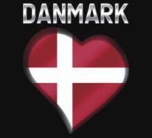 Danmark - Danish Flag Heart & Text - Metallic Kids Tee