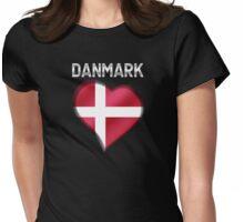 Danmark - Danish Flag Heart & Text - Metallic Womens Fitted T-Shirt