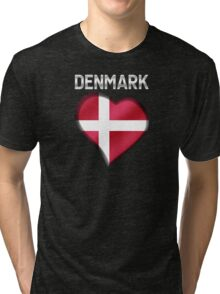 Denmark - Danish Flag Heart & Text - Metallic Tri-blend T-Shirt