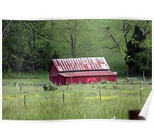 Red Barn In Field Poster