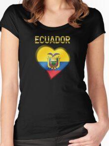 Ecuador - Ecuadorian Flag Heart & Text - Metallic Women's Fitted Scoop T-Shirt