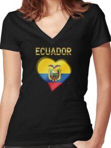 Ecuador - Ecuadorian Flag Heart & Text - Metallic Women's Fitted V-Neck T-Shirt
