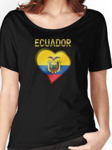 Ecuador - Ecuadorian Flag Heart & Text - Metallic Women's Relaxed Fit T-Shirt