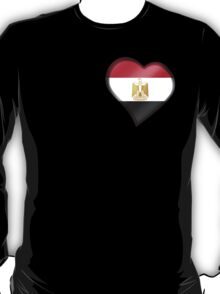 Egyptian Flag - Egypt - Heart T-Shirt