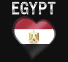 Egypt - Egyptian Flag Heart & Text - Metallic One Piece - Short Sleeve