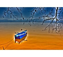 Boat in snow with blue sky Photographic Print