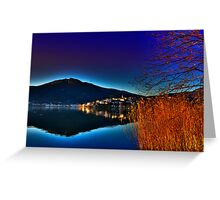 view of a city at sunset time Greeting Card