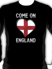 Come On England - English Flag Heart & Text - Metallic T-Shirt
