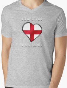 Come On England - English Flag Heart & Text - Metallic T-Shirt