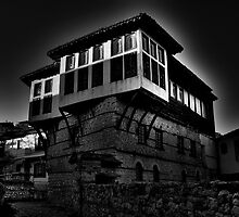 Black & white Traditional old house at Kastoria (Makedonia, Greece) by Tania Koleska