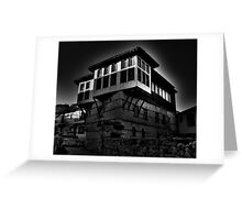 Black & white Traditional old house at Kastoria (Makedonia, Greece) Greeting Card
