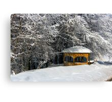 kioski under snowy trees Canvas Print