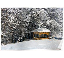 kioski under snowy trees Poster