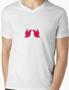 Love Doves Red Mens V-Neck T-Shirt