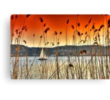 Sailng at Kastoria Lake (Makedonia, Greece) Canvas Print