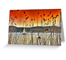 Sailng at Kastoria Lake (Makedonia, Greece) Greeting Card