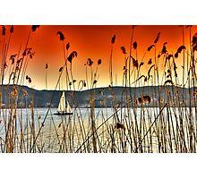 Sailng at Kastoria Lake (Makedonia, Greece) Photographic Print