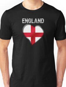 England - English Flag Heart & Text - Metallic Unisex T-Shirt