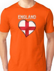 England - English Flag Heart & Text - Metallic Unisex T-Shirt