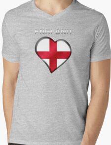 England - English Flag Heart & Text - Metallic T-Shirt