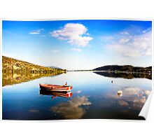 Boat in Kastoria lake (Makedonia, Greece) Poster