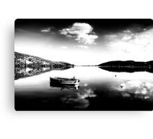 Black and white boat in Kastoria lake (Makedonia, Greece) Canvas Print
