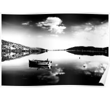 Black and white boat in Kastoria lake (Makedonia, Greece) Poster