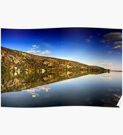 mirror mountain in Kastoria Lake (Makedonia, Greece) Poster