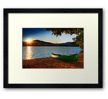 canoe cayak at lake into Sunset Framed Print