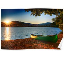 canoe cayak at lake into Sunset Poster