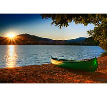 canoe cayak at lake into Sunset Photographic Print