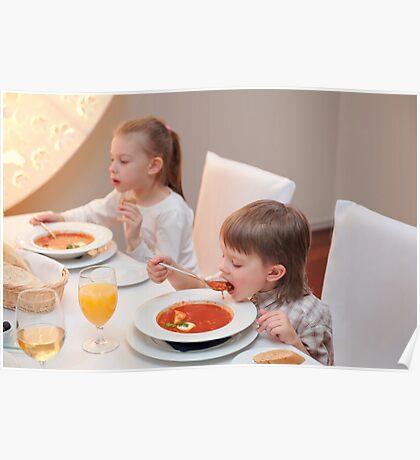 Delicious dinner in restaurant Poster