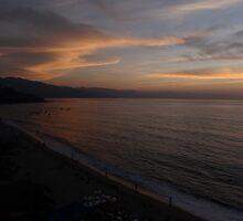 The beach of Puerto Vallarta after sunset by Bernhard Matejka
