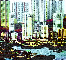 Kowloon from Hong Kong Harbour by Mike Leahy