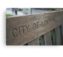 wooden bench city of London Canvas Print