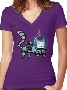 Astro Cat Women's Fitted V-Neck T-Shirt